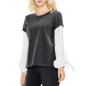 Vince Camuto Layered Bubble Sleeve Top NEW (l4)